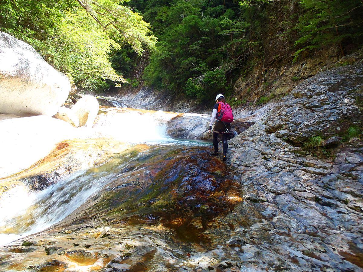 滝上部はナメ地帯になっているが、ここも何度みても素晴らしい!