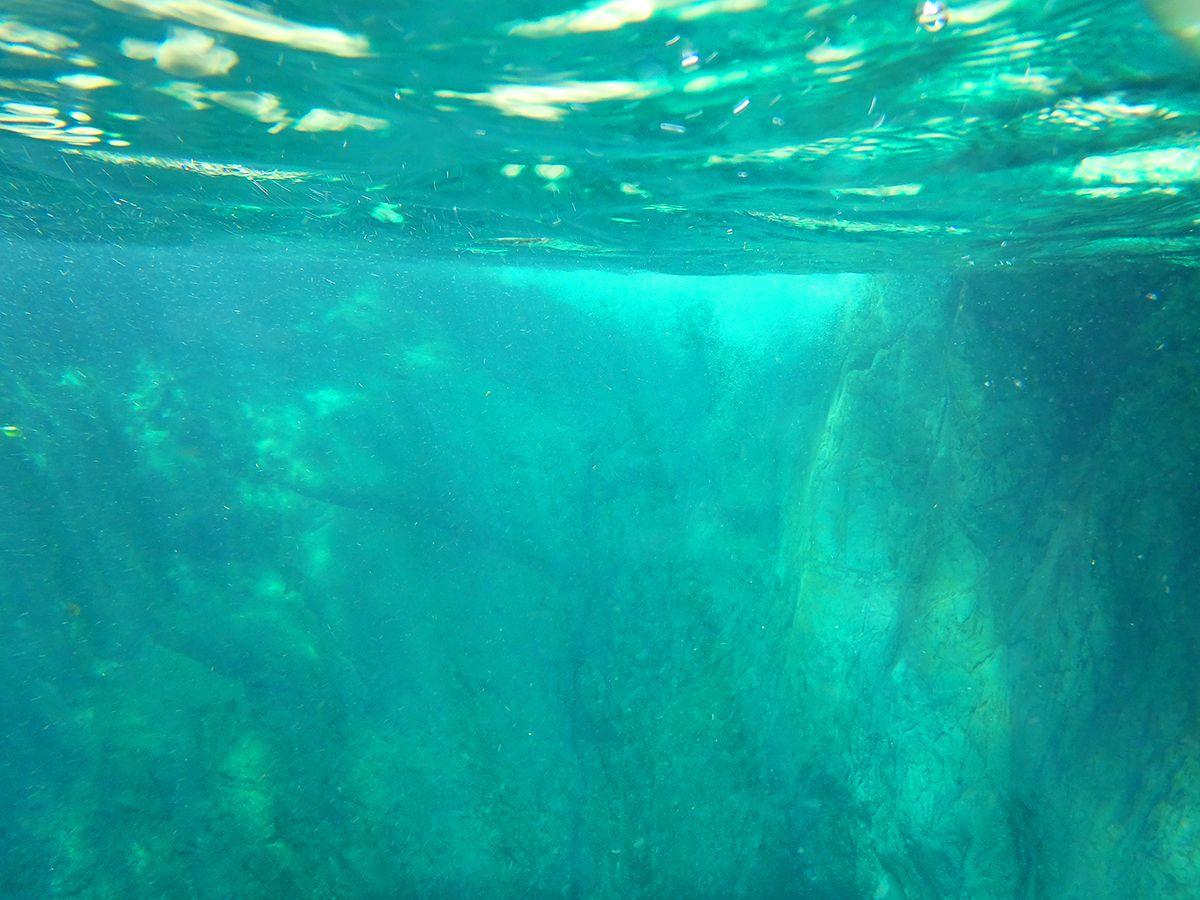 水底。ここはグリーンだけど、やっぱ透明感があって綺麗