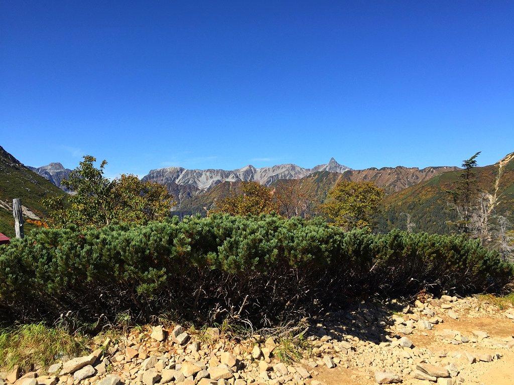 最後のテント場から槍ヶ岳方面を撮影