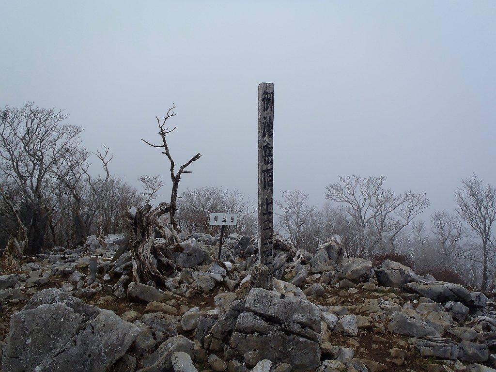 御池岳(1247m)に到着。嫁とひでぶ~さんとハグれてしまった