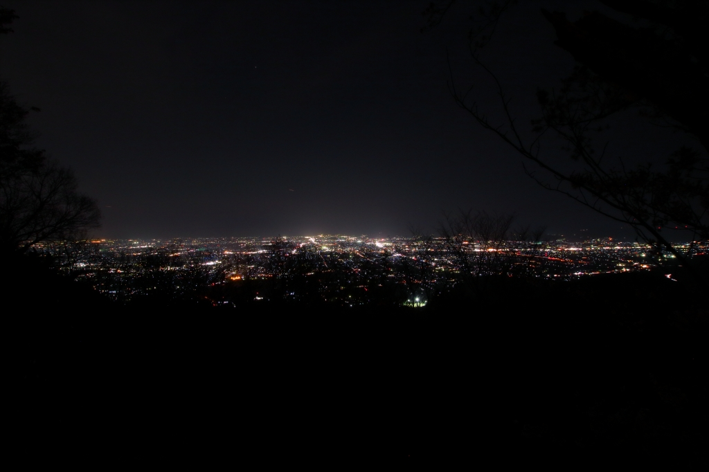 こっちは二上山頂上から奈良側の夜景。樹林がなければかなりいい夜景