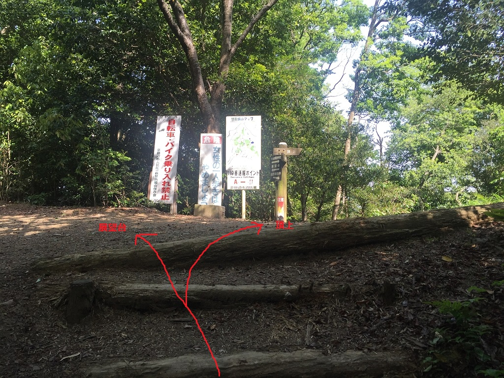 階段を登り切ると分岐で左が展望台、右が頂上。 まずは展望台へ向かう