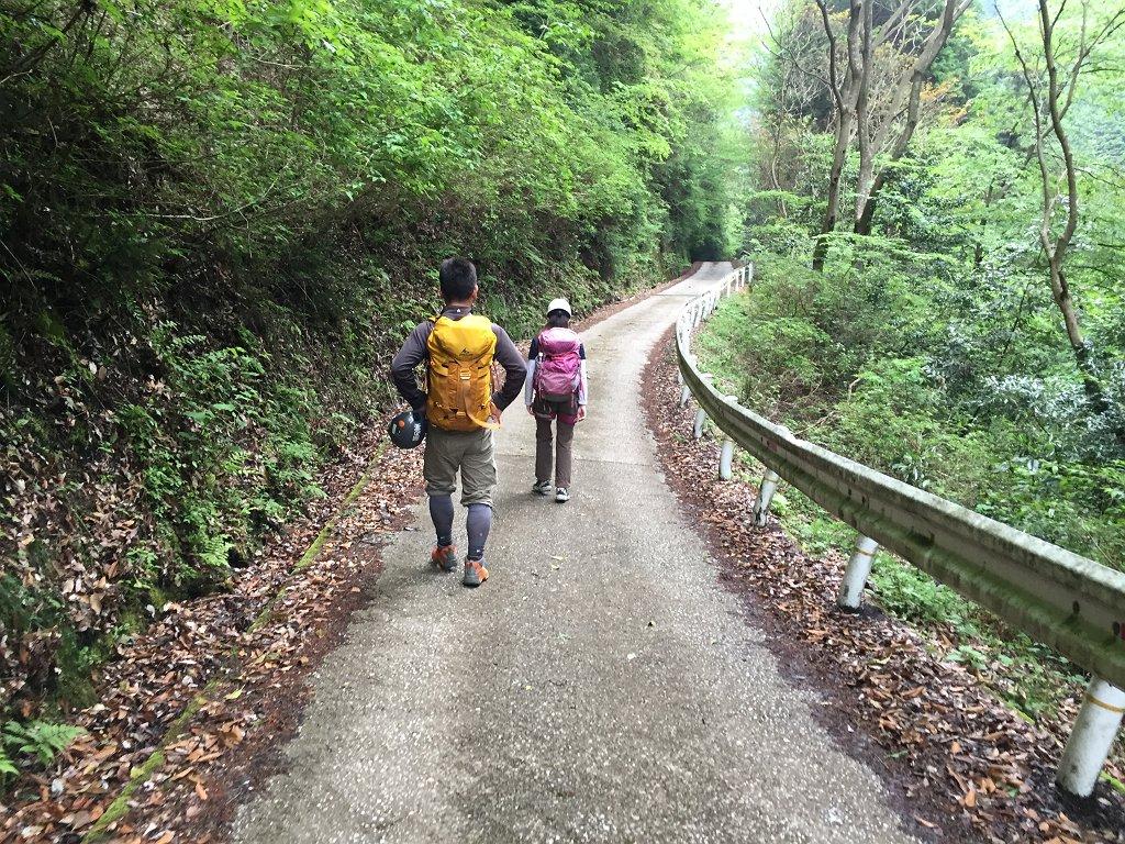 編笠山から下ったところに車を置いて林道流谷線を下りタツガ岩に向かいます。