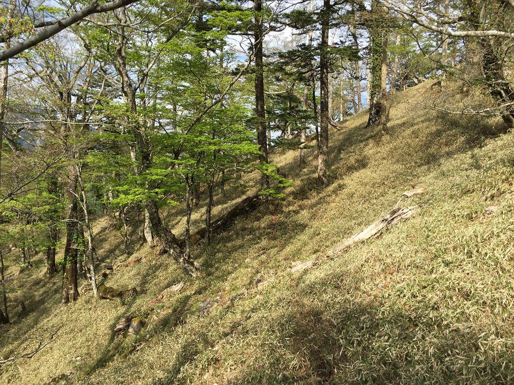 アケボノ平から登り返すのが面倒なのでトラバースするが、踏み跡が残っていた