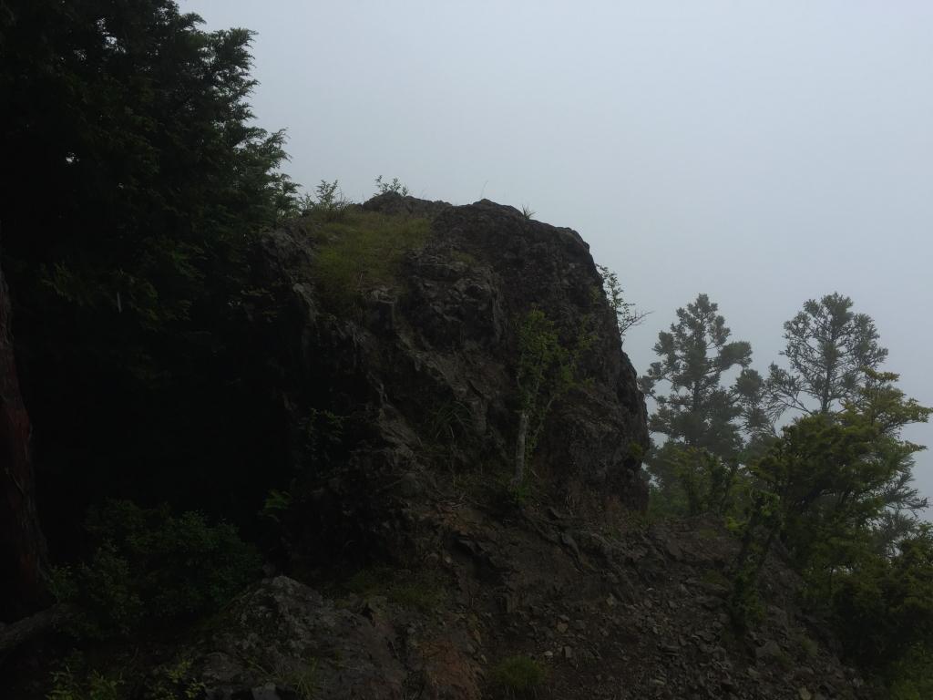 お立ち台になる展望岩に到着。 ガスっててなぁ~んも見えないけど、OKOK