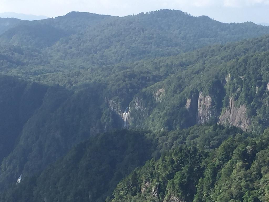 岩肌から滝が流れ落ちてるのが神秘的。さて尾鷲辻に戻って下山します