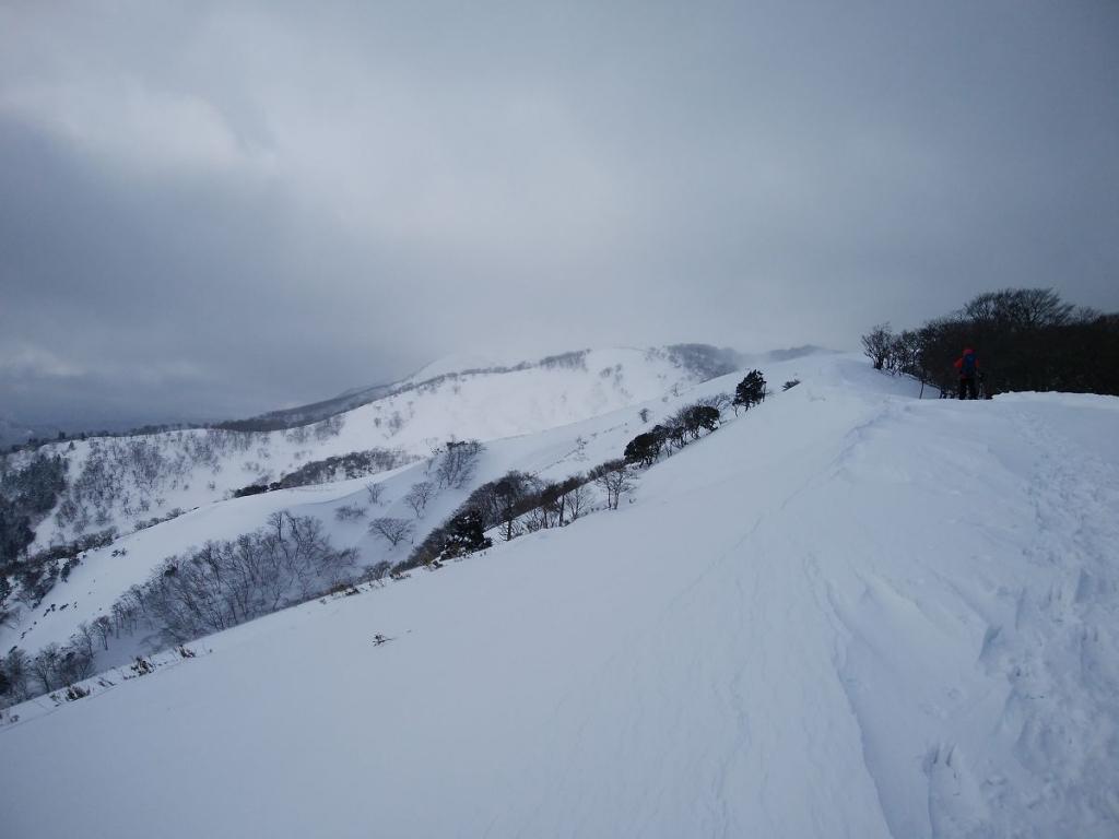 竜ヶ岳の山頂がところどころで見えるけどまだまだ遠いなあ