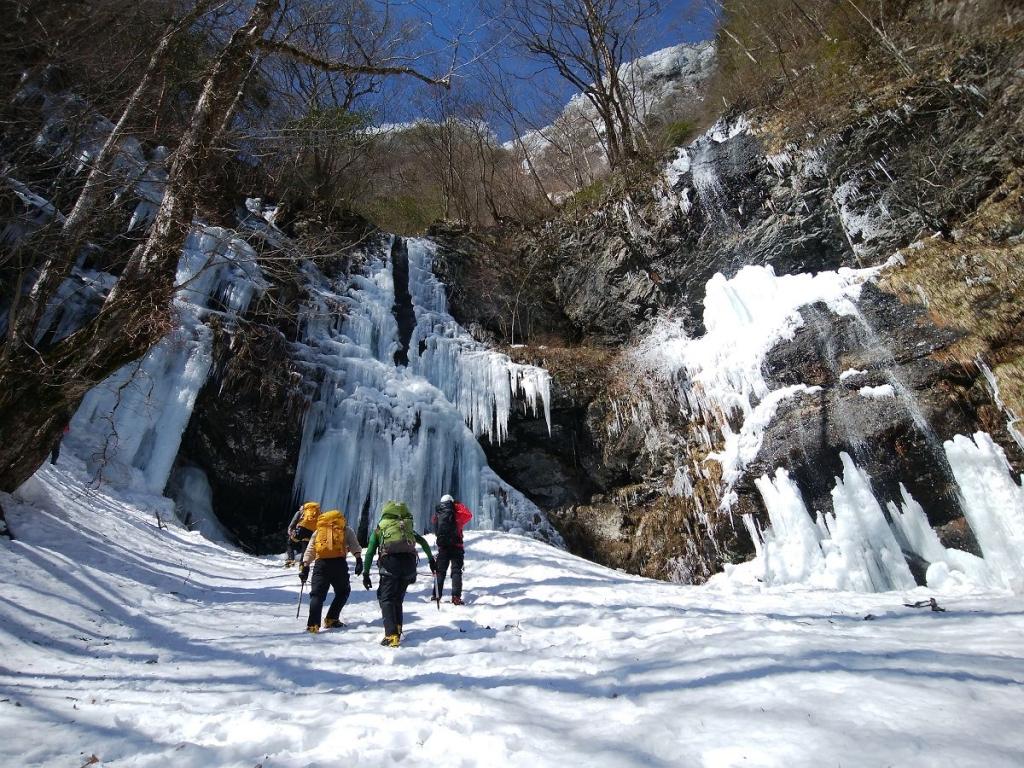 氷柱の中へ向かうが、滝から氷の塊がバンバン落ちてきて結構デンジャーだった