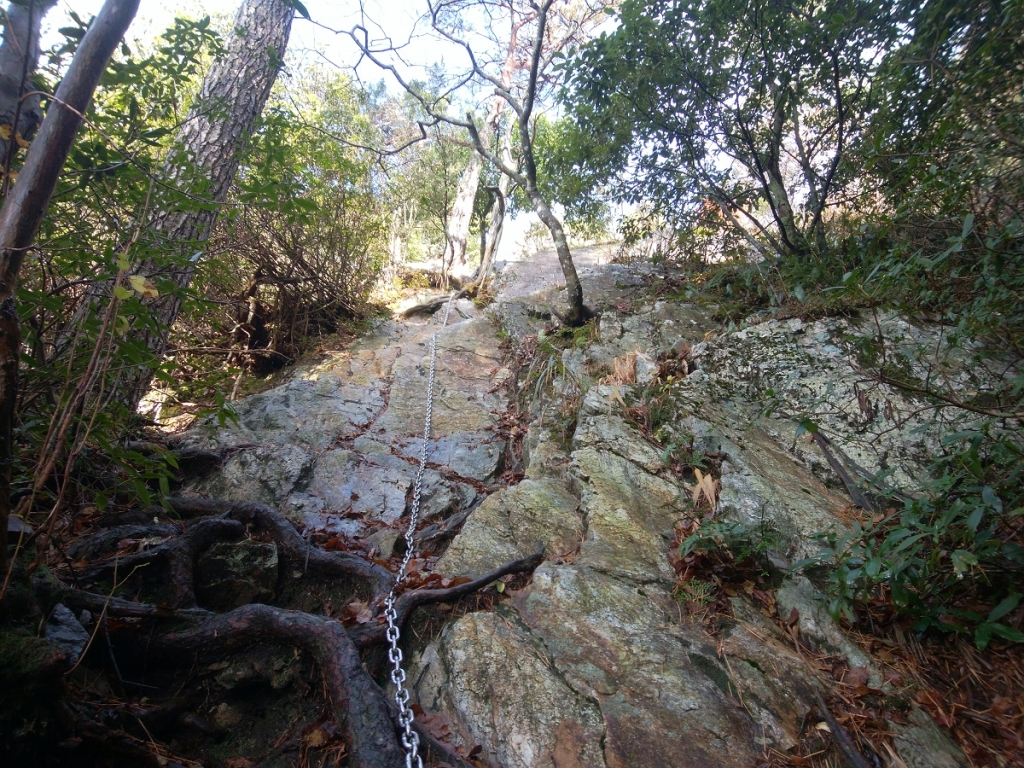 結構な岩場を登っていくのね。これ一番長い岩場だった。滑ったらアウトですよ