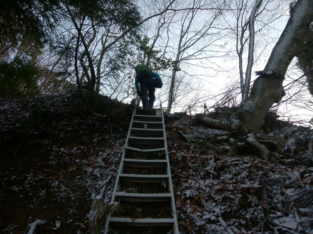 階段を登って
