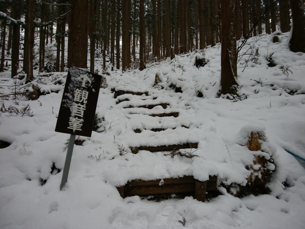 観音峰へ階段を登っていく