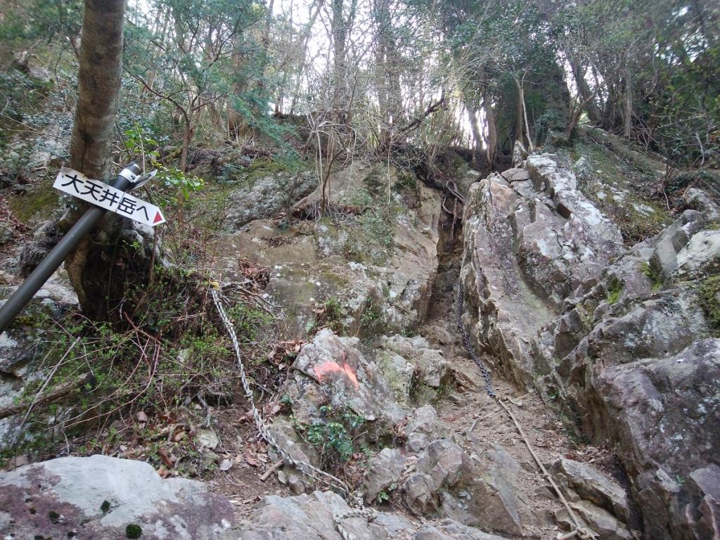 ここから鎖場になり岩場が少し連続する