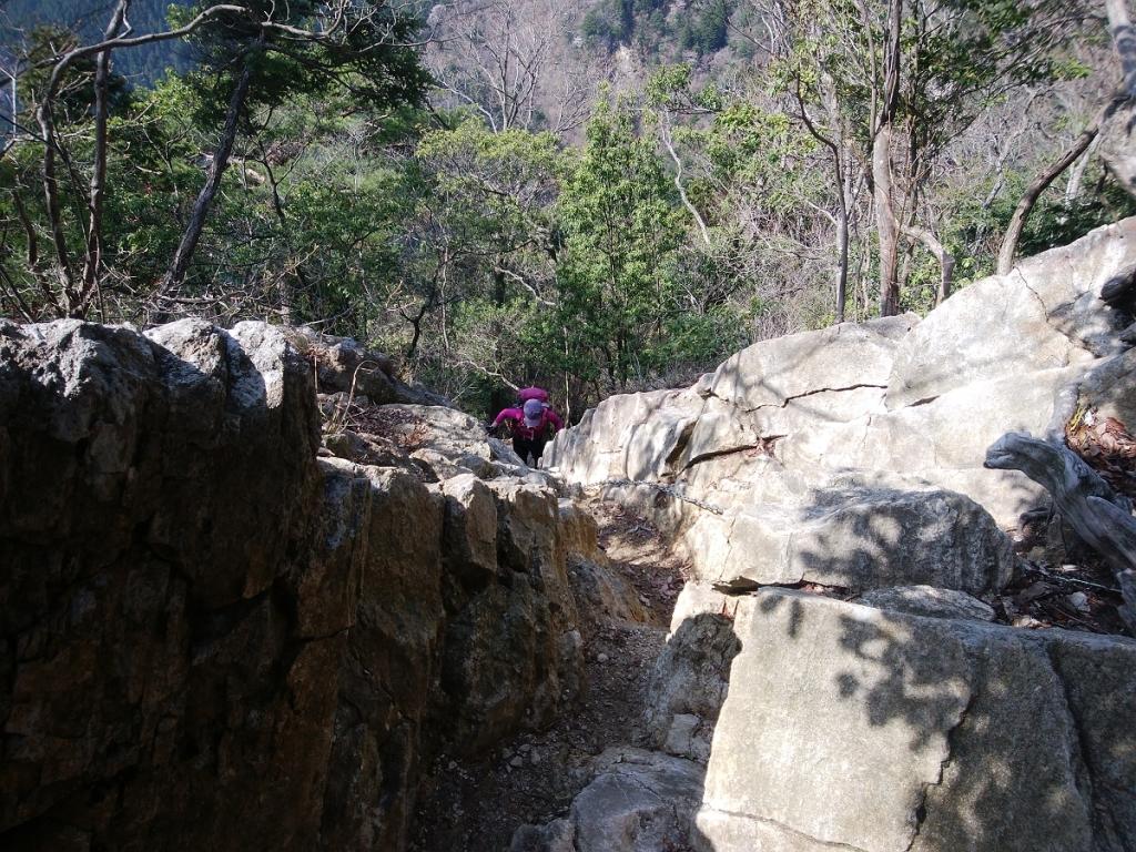 えっちらほっちら岩場を登ってくるよっこさん