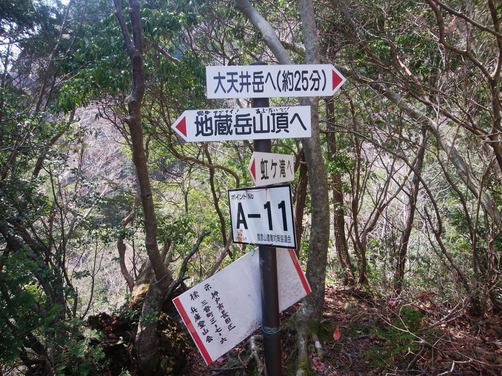 地蔵岳へはあぶないと書かれているけど、なんか岩場を見ても行けそうなので進む。他の記事でも行ってたしね。