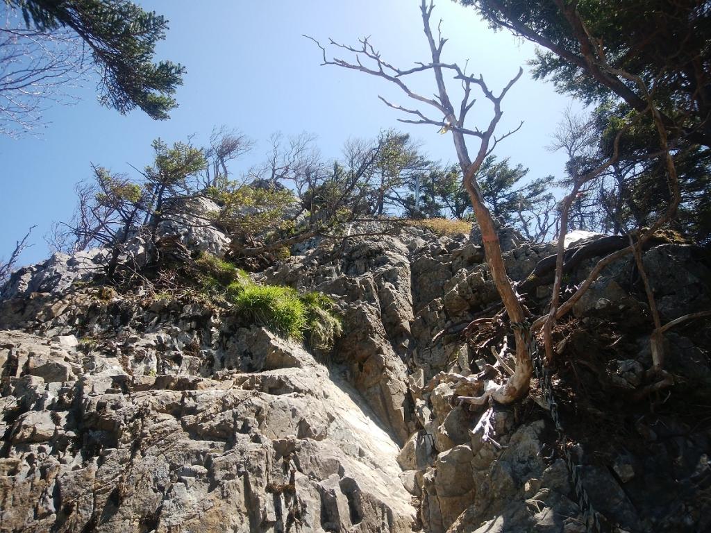 この岩場を登っていく
