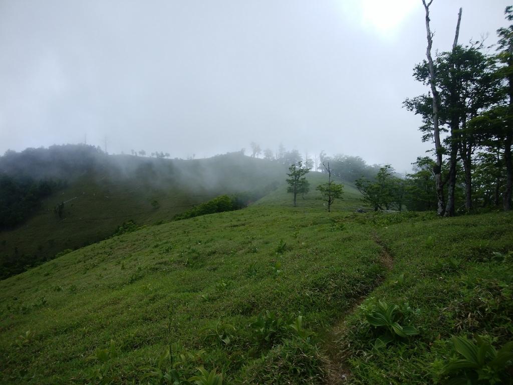 三津河落山への稜線、ガスっていてちょっと残念だけど、なかなかグッドな景色