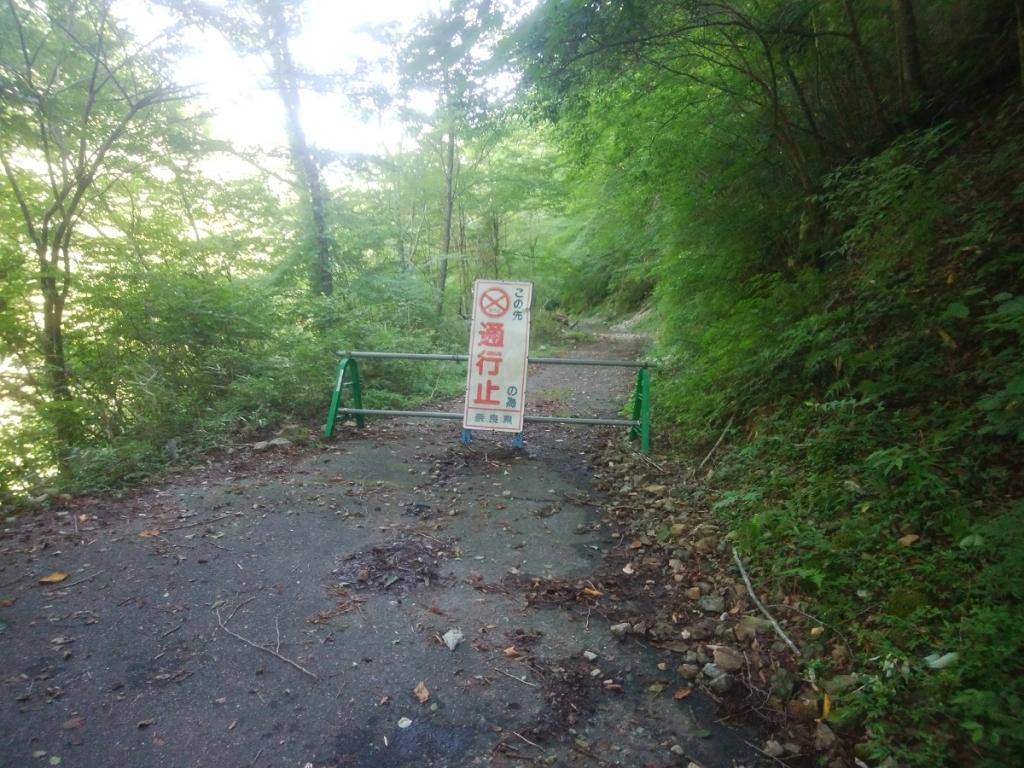 通行止めから橋の手前まで林道を歩く