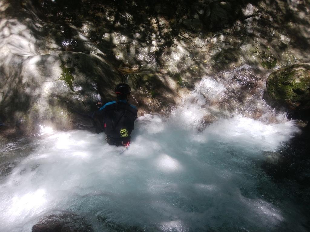 必死に登っていく田村君。流れに逆らって登るのが楽しいようだ