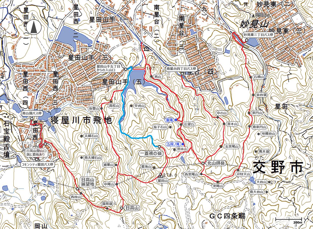 星田連山地図