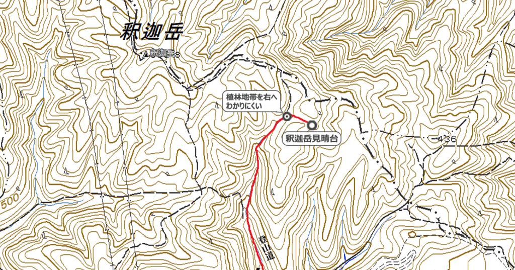 釈迦岳見晴台地図